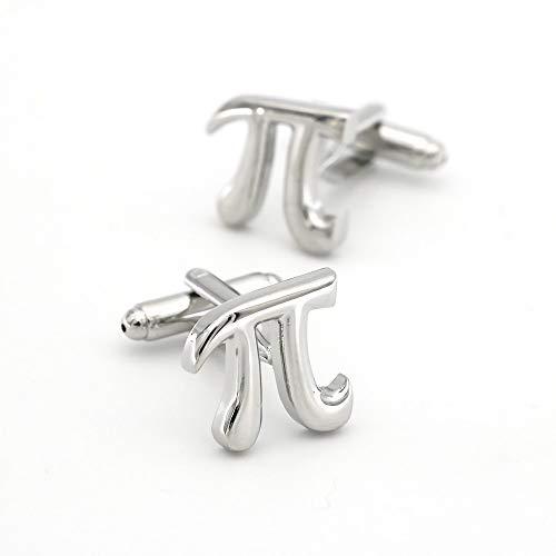 SHAOWU Mathematische Symbole Design Pi Manschettenknöpfe Rostfreie Silberne Manschettenknöpfe Qualität Messingmaterial