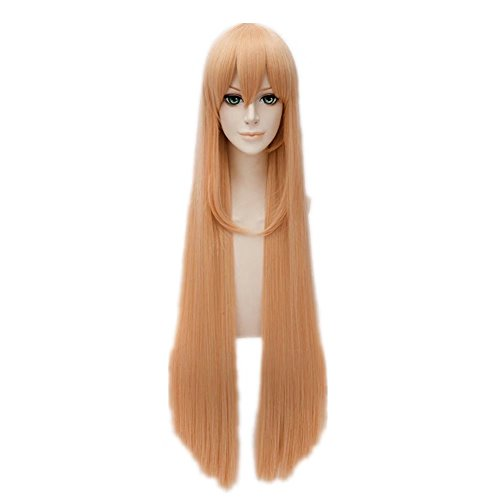 Kadiya Women's Long Straight Heat Resistant Cosplay Costume Wigs Orange
