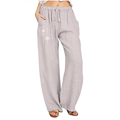Damen-Yogahose im Bohemian-Stil, locker, bequemer Leinenstoff, weite Beine, modisch, Blumendruck, elastische Taille, Trainingshose, grau, M