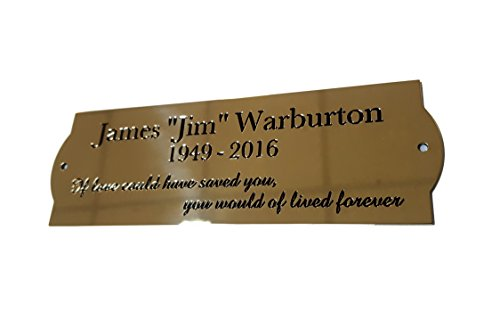 6' x 2' Curved Sides solid brass engraved nameplate. Personalised engraved memorial plaque