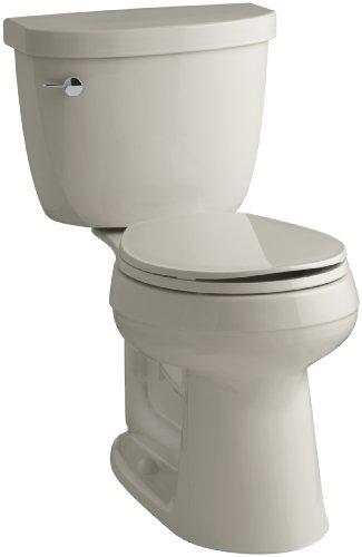 KOHLER K-3887-G9 Cimarron Comfort Height Two-Piece Round-Front 1.28 GPF Toilet with AquaPiston Flush Technology and Left-Hand Trip Lever, Sandbar