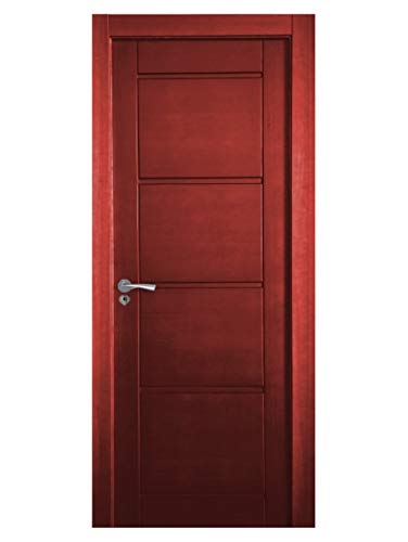Block puerta de interior teñida color + acabado al agua para exteriores mate o satinado. Batiente de 90x20 + tapeta lisa 220x90x10 / 0.8. Herrajes color Inox/Latón/Negro/Cuero (manilla incluida).