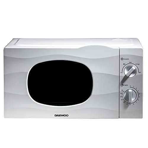Daewoo 20L 700W Microwave with Auto Defrost Function and 5 Power Settings KOR6L77 Manual 35 Minute Timer Dial and Glass Turntable, Subtle Wave Design Window Push Door- White