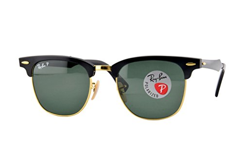 Ray-Ban RB3507 Clubmaster Aluminum Square Sunglasses, Black & Gold/Polarized Green, 49 mm