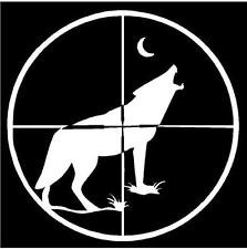 NI592 Coyote Hunting Decal | 5.5-Inches | Premium Quality White Vinyl Decal