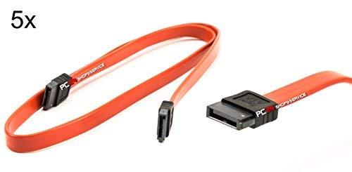 5x SATA Cavo 55 cm   Rossi   dritto-dritto   compatibili con interfacce fino alla S-ATA/600, velocità 1,5 GB/s - 3 GB/s - 6 GB/s (compatibile verso il basso)   SATA Cavi   qualità premium di PC24 Shop & Service