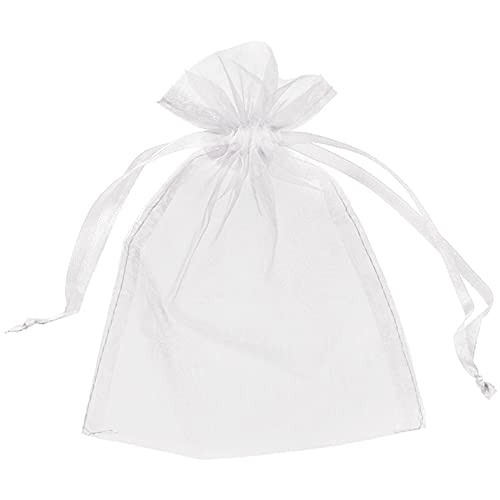 Organza Bags Wedding Favours Party Jewellery Pouches Mesh Drawstring Gift Wrap (25, White)
