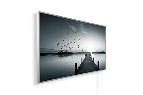 Könighaus - Riscaldamento a infrarossi, qualità HD, con immagini TÜV/GS 200+, 1.000 Watt, brevettato, cornice bianca, Black Edition. 1000.00W