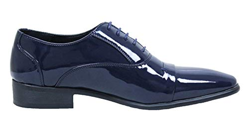 AK collezioni Scarpe uomo Class eleganti blu scuro lucide vernice linea classica (43)