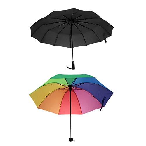 IPOTCH 2pcs Schirm Regenschirm Sturmfest Unisex Kompaktschirme Auf-Zu Automatik Drei Falten Regenschirm Taschenregenschirm