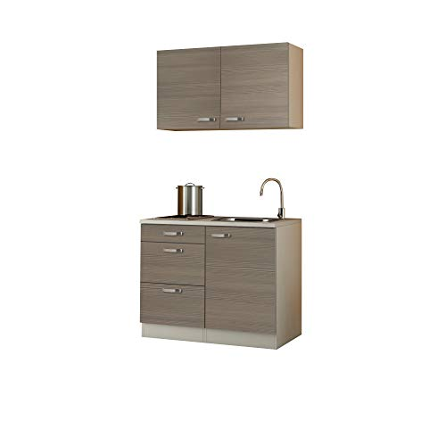 Singleküche TOLEDO - Miniküche mit Elektro-Kochfeld und Spüle - Breite 100 cm - Pinie Nougat/Champagner