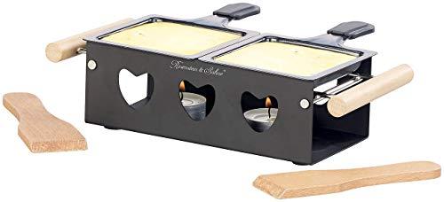 Rosenstein & Söhne Raclette Stövchen: Teelicht-Raclette für 2 Personen, mit Schabern und Teelichtern (Duo-Raclette)