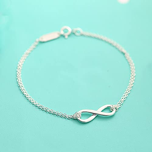 BVFRA Silver Friendship Bracelets925 Sterling Silver Bracelet Infinity Symbol Friendship Bracelet Eternity Jewellery Gifts for Wife Girlfriend On Birthday Anniversary