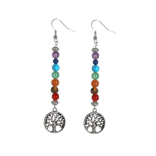 Reiki Tree Of Life 7 Chakra Drop Earrings Natural Stones Yoga Spiritual Healing Crystals Earrings Bohemian Long Earrings Jewelry