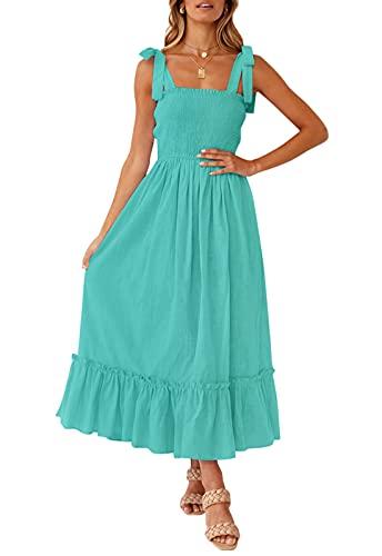 ZESICA Women's Summer Boho Spaghetti Strap Square Neck Solid Color Ruffle A Line Beach Long Maxi Dress,Aqua,Small