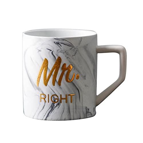 Taza Mug Café Tazas Creativas De Porcelana Mr Right Mrs Always Right Tazas De Diseño De Mármol Con Letras, Tazas De Té De Café, Taza De Leche De Cerámica Mate, Regalo De Pareja