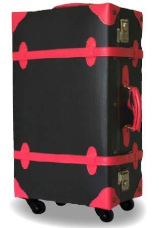 [W2-PVC] アウトレット トランクケース S サイズ スーツケース PVC製 可愛いデザイン 防護袋付き 小型 4輪 TSAロック トランク キャリーケース キャリーバッグ キャリーバック おしゃれ かわいい 訳あり(S, ブラック×ローズ)