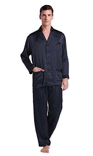 LilySilk 22 Momme Seiden Lang Nachthemd Nachtwäsche Nachtkleider Herren Junge (Medium, Blau)