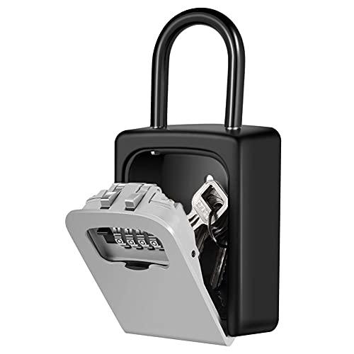 Caja de bloqueo de llave con combinación de 4 dígitos, caja de llave reajustable, impermeable al aire libre para colgar en la pared, caja de bloqueo de almacenamiento de llaves para el hogar (A)