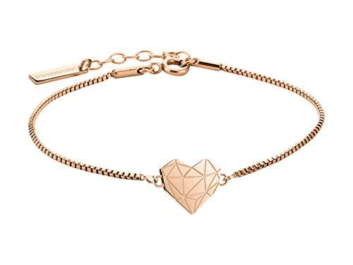 LIEBESKIND Damen Armband Herz Edelstahl Silber 20 cm (roségold)