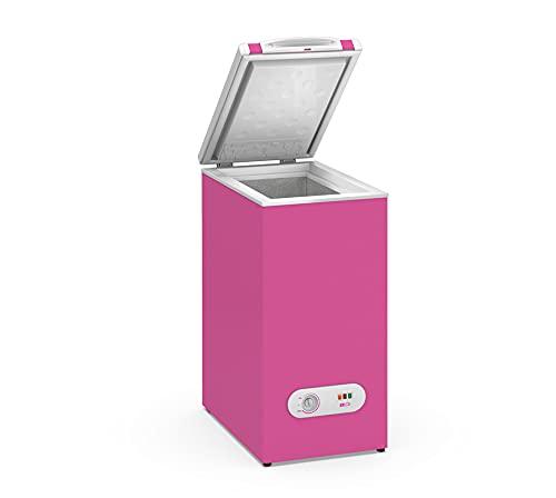 Congelador Horizontal pequeño TENSAI, color Rosa, 60 litros de capacidad y 38,4 cm de ancho con clasificación energética A+