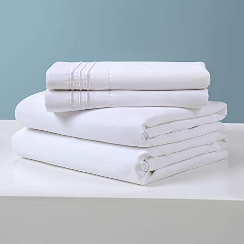 100% Cotton Bed Queen Sheet Set,400 Thread Count Soft & Smooth Long Staple Combed Cotton ,14-Inch Deep Pocket Hotel Quality Luxury BedSheets,Wrinkle and Durable-4 Piece (White, Queen)