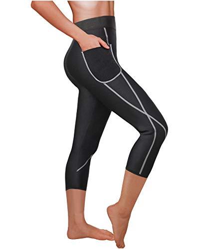 Ursexyly Women Sauna Weight Loss Sweat Pant Fashion Design Slimming Neoprene Hot Body Shaper Leggings (Black Capri-Shorter, XL)