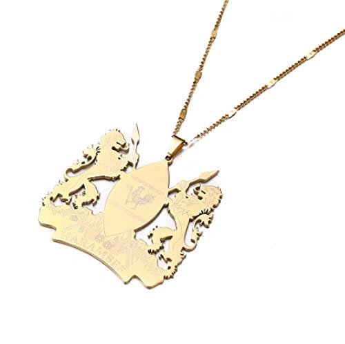 NC110 Moda de Acero Inoxidable Kenia Collares Pendientes Color Oro Mapa del país Africano joyería de Kenia YUAHJIGE