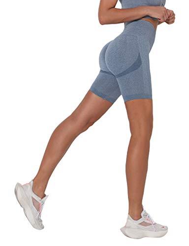 SHAPERIN Mallas cortas de compresión para mujer, para hacer deporte, para hacer yoga, correr, para ir al gimnasio, hacer ejercicio #1 Azul S