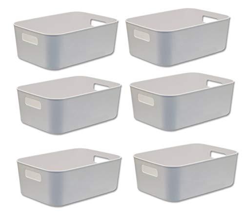 Besli Pack of 6 Small Storage Bin,Durable Storage Basket Cabinet Organizer
