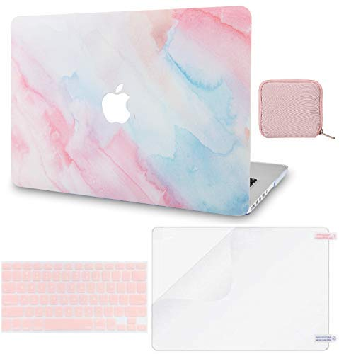 LuvCase 4 in 1 Laptop Case For MacBook Pro 13' (2016-2020) w/wo Touch Bar A2159/A1989/A1706/A1708 Hard Shell Cover, Pouch, Keyboard Cover & Screen Protector (Pale Pink Mist)