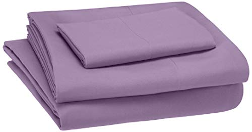 AmazonBasics Kid's Sheet Set - Soft, Easy-Wash Lightweight Microfiber - Twin, Violet