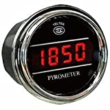 Pyrometer Gauge Exhaust Gas Temperature Sensor for Any Semi, Pickup Truck or Car - Gauge Diameter - 2 1/16' - Bezel: Chrome - LED Color: Red