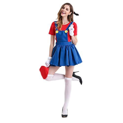 HOOLAZA Rot Frauen Rollenspiel Super Mario Brothers Kostüm Mario Erwachsene Cosplay Kleid 5 Stücke Kostüm Set