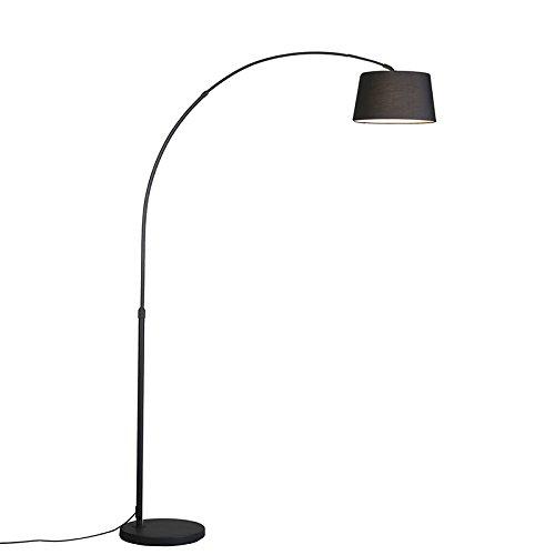 QAZQA - Moderne Bogenlampe schwarz mit schwarzem Stoffschirm - Arc Basic | Wohnzimmer - Stahl Rund - LED geeignet E27