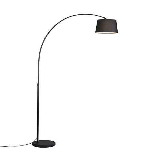 QAZQA Modern Moderne Bogenlampe schwarz mit schwarzem Stoffschirm - Arc Basic/Innenbeleuchtung/Wohnzimmerlampe Textil/Stahl Rund LED geeignet E27 Max. 1 x 20 Watt