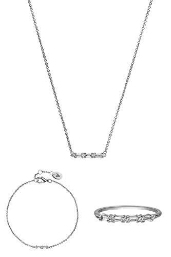 PAUL VALENTINE  Joyas para mujeres - Barstone collar, brazalete y anillo de plata - rodiado - Con circonia de calidad superior - Joyas para mujeres