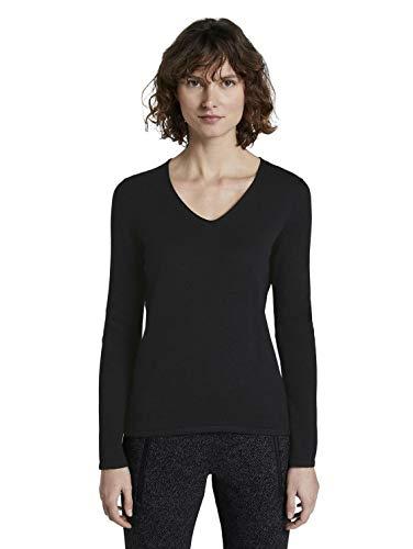 TOM TAILOR für Frauen Pullover & Strickjacken Pullover mit V-Ausschnitt Deep Black, XL