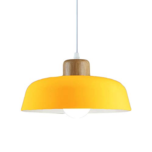 HJXDtech Luz colgante de metal redonda simple moderna nórdica,Lámpara de techo grande con acabado de madera E27 para salón de dormitorio de cocina (Amarillo)