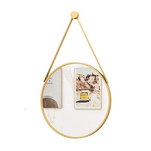 LWF Espejo Colgante De Pared Redondo Dorado, Espejos De Vidrio De Pared con Círculo De Tocador HD, Decoración para Dormitorio, Baño, Sala De Estar, Pasillo(Size:50CM)