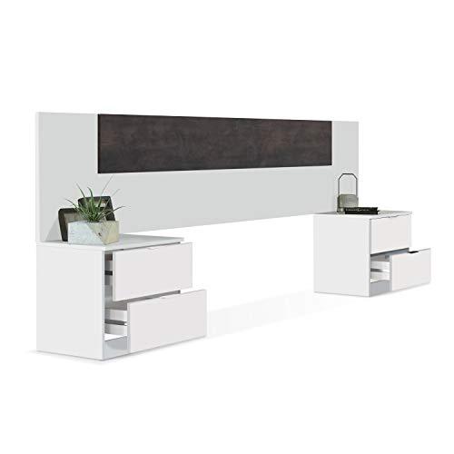 Habitdesign 0X6075A - Cabezal y mesitas de Noche, cabecero acabado en Blanco Artik y Oxido, Medidas: 247 x 95 x 38 cm de Fondo