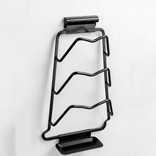 XinLuMing Titular de la Tapa de la Olla Vertical, la Cocina del Soporte de la Tapa para la Cubierta de la Olla y la pancer Accesorios de la Cocina a Mano para la Puerta del gabinete (Color : Black)