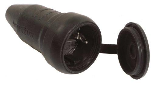 as - Schwabe 60419 Schutzkontakt-Vollgummi-Kupplung mit Schutzkappe, IP44 Gewerbe, Baustelle