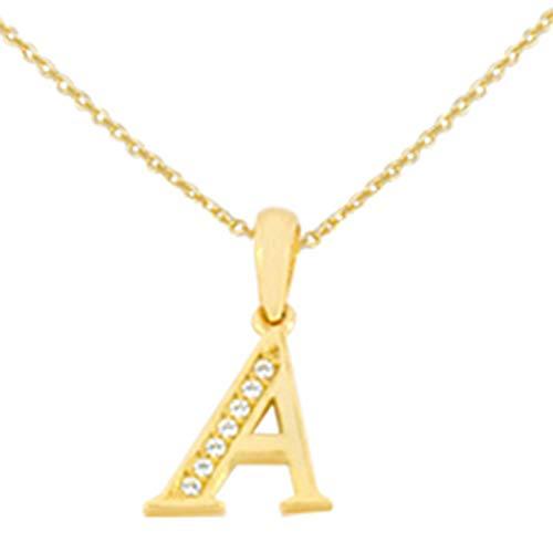 Aion Buchstaben Kette Damen Buchstabenanhänger A aus Gold 585 Gelbgold 14k Collier (14 Karat (585) Gelbgold, 45)
