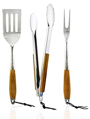 colsen Heavy Duty BBQ Grilling Tool Set, 3pcs Real Thick Stainless Steel Barbecue Spatula, Tongs & Fork (Brown)