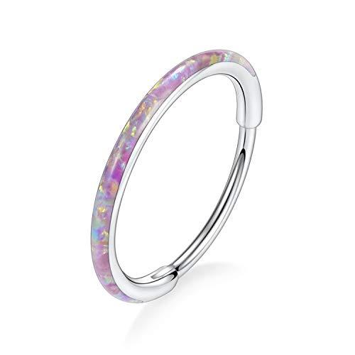 FUNLMO 20G Nose Rings Pink Opal 10mm Conch Nose Piercing Jewelry Septum Jewelry Nose Hoop Cartilage Conch Huggie Earrings Surgical Steel Daith Earrings Lobe Earrings Silver