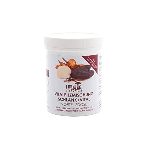 Hawlik Vitalpilze - Schlank + Vital Vitalpilzmischung - 240 Kapseln - Reishi Pulver - Hericium Pulver - Maitake Pulver - Cordyceps Extrakt