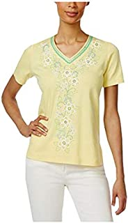 Alfred Dunner Multi Color V Neck T-Shirt For Women