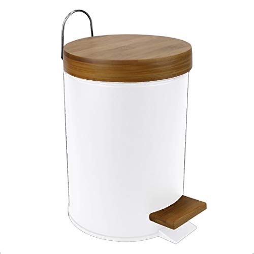 Home Basics 3 Lt Steel Step Waste Bin with Bamboo Top 1 White