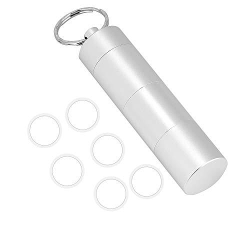 Emoshayoga Botella de píldora Caja de píldora hermética Botella Caja de Almacenamiento de Sello a Juego para medicamentos de Salud para cápsula de píldora(Silver)